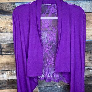 Purple Lace Back Cardigan